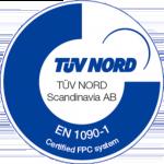 Logo för certifikatet EN 1090-1 TUV Nord